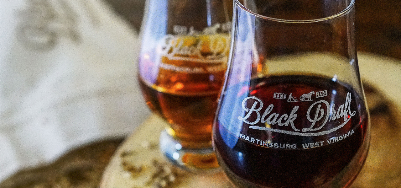 Black Draft Distillery tulip glass with Straight Bourbon